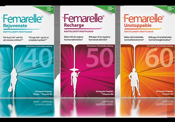 Femarelle förpackningar. Kosttillskott för kvinnor i klimakteriet.