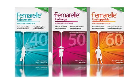 Femarelle produktserie för klimakteriets tre faser.